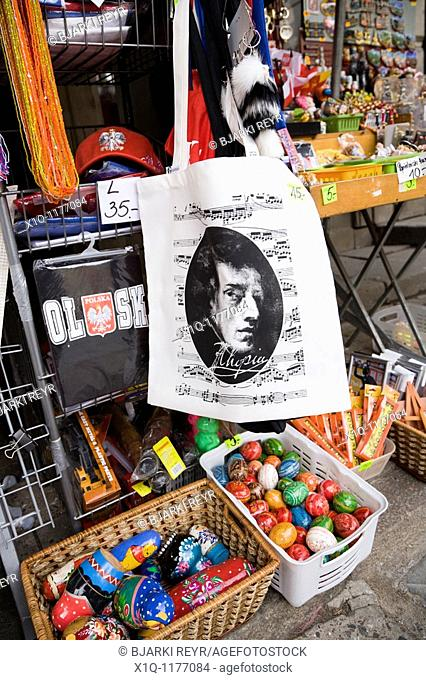 Chopin souvenirs sold at Old Town Market Place, Warsaw Poland
