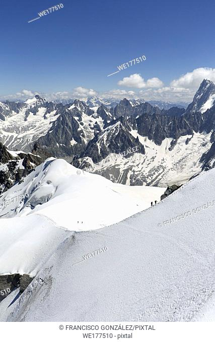 Views from LA'Aiguille Du Midi in Chamonix, France. In the image climbers ascending Mont Blanc with an official altitude of 4810. 06 meters