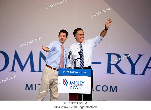 Governor Mitt Romney, the 2012 Republican Presidential Candidate, and Congressman Paul Ryan the candidate for Vice President