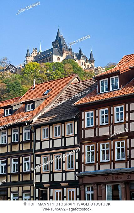Timbered houses and the castle of Wernigerode, Saxony Anhalt, Germany, Europe