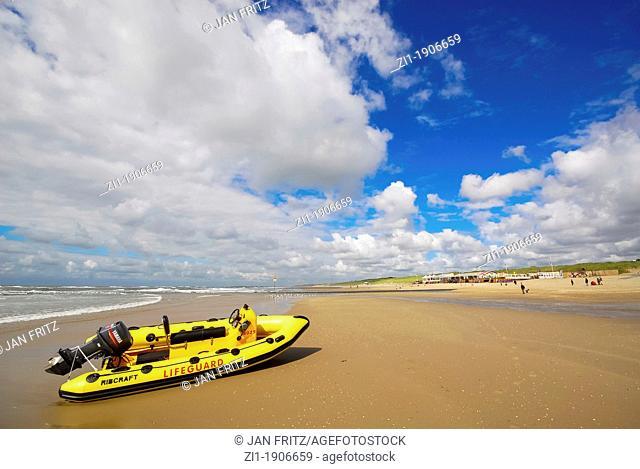rubberboat from coastguard at beach in Scheveningen in the Netherlands