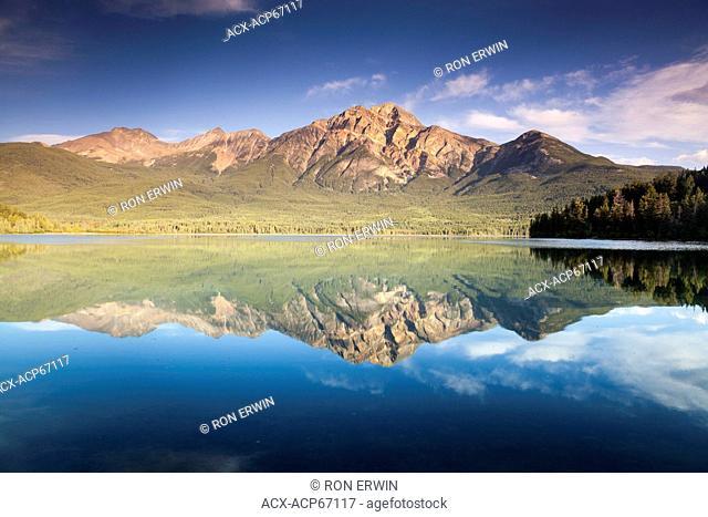 Pyramid Mountain reflected in Pyramid Lake in Jasper National Park, Alberta, Canada