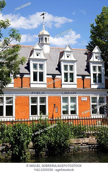 Queens Park Public Library on Harrow Rd alongside Grand Union Canal - London UK