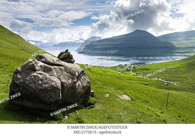 Village Oyndarfjordur. The island Eysturoy one of the two large islands of the Faroe Islands in the North Atlantic. Europe, Northern Europe, Denmark