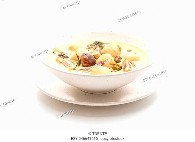 green curry with fish ball isolated on white background