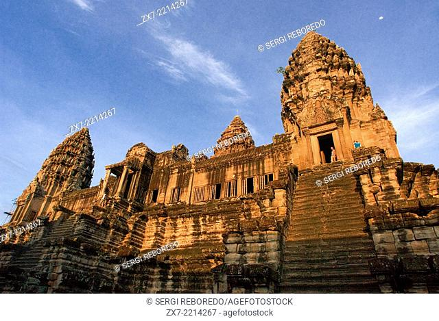 Rear of Angkor Wat. Angkor in Cambodia. The temples of Angkor, built by the Khmer civilization between 802 and 1220 AD, represent one of humankind's most...