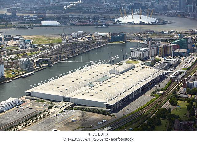 Aerial view of the ExCel Exhibition Centre, Royal Victoria Dock and the Millennium Dome London, UK