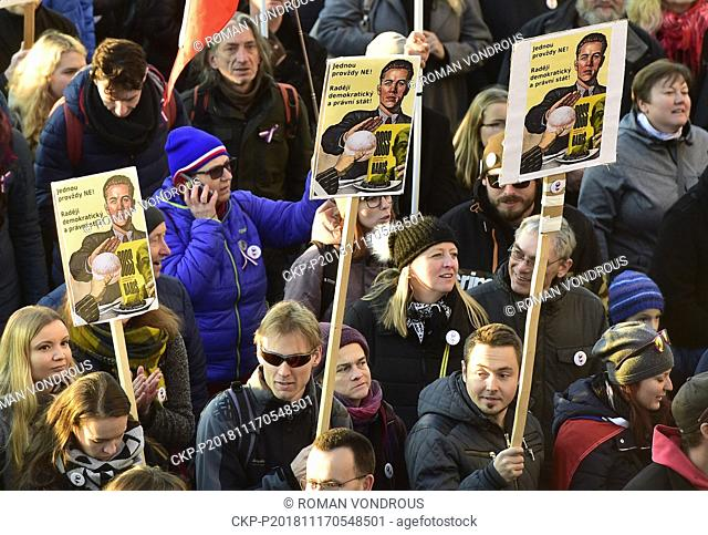 Thousands of people demonstrated in the centre of Prague, Czech Republic, on November 17, 2018, demanding Andrej Babis's resignation as prime minister mainly...