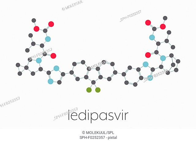 Ledipasvir hepatitis C virus (HCV) drug molecule. Stylized skeletal formula (chemical structure). Atoms are shown as color-coded circles connected by thin bonds