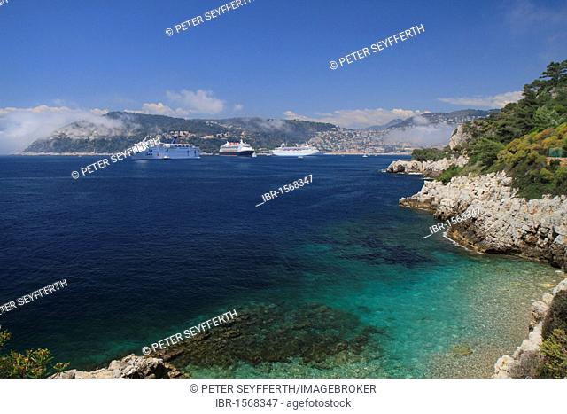 Bay of Villefranche with cruise ships, Grand Holiday, Disney Magic and Thomson Destiny, as seen from Cap Ferrat, Alpes Maritimes