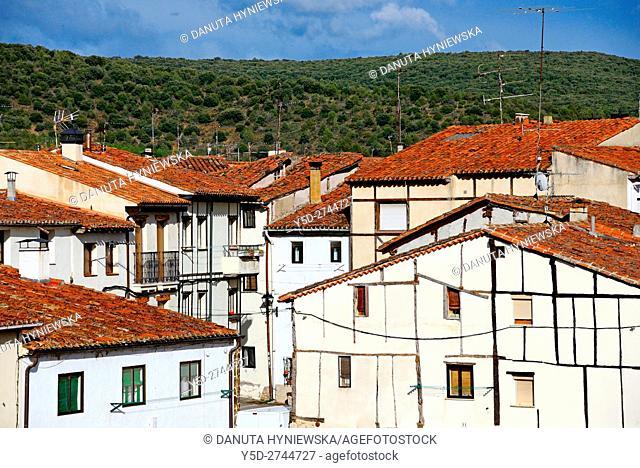 traditional architecture, old town of Covarrubias, Ruta del Cid, Burgos province, Castilla-León, Castile and León, Castilla y Leon, Spain, Europe