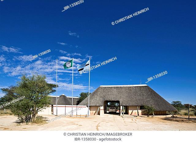 Mabuasehube, gate in the Kalahari, Mabuasehube Game Reserve, Kalahari Desert, Botswana, Africa