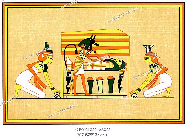 In this painting, Anubis, the jackal-headed god of the dead and guide of the afterlife, ministers to Osiris (lying on his bier)