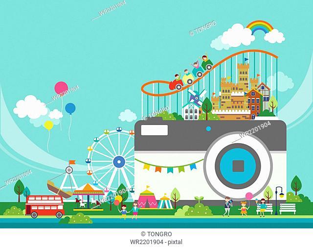 Camera with amusement park