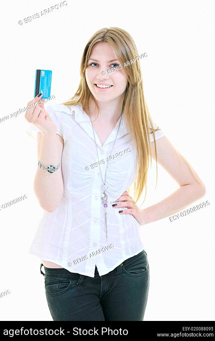 young woman hold credit card