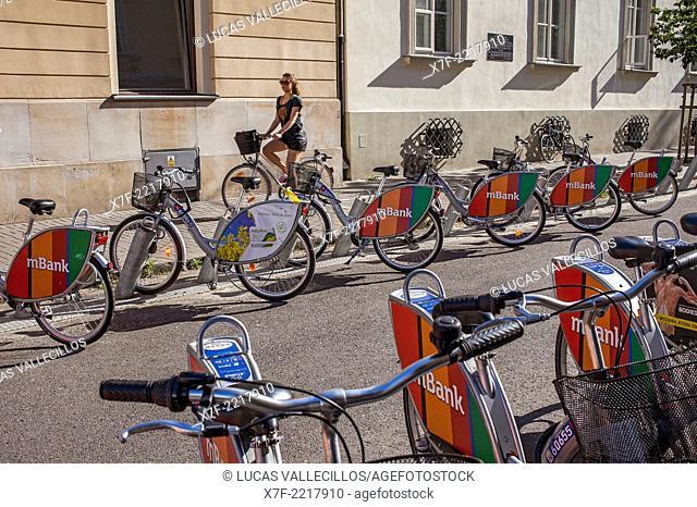 Public Service Bicycle, in Romualda Traugutta street, Warsaw, Poland