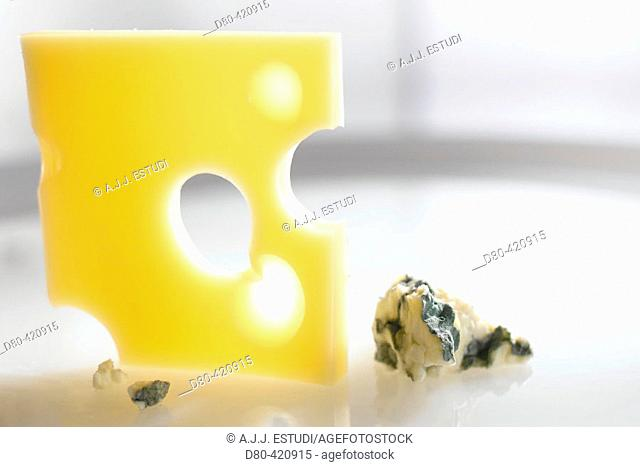 Emmental and Roquefort cheese