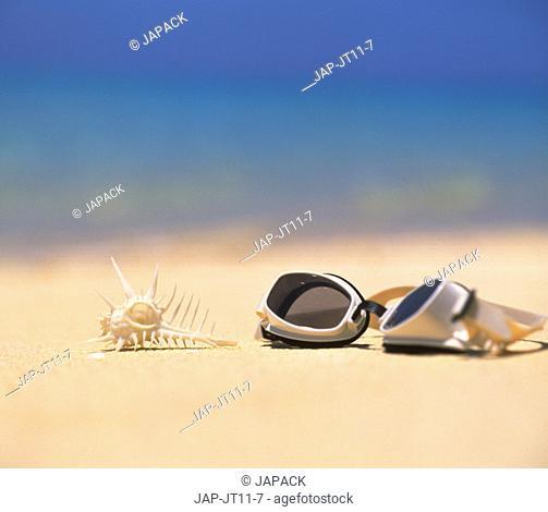 Goggles on a beach