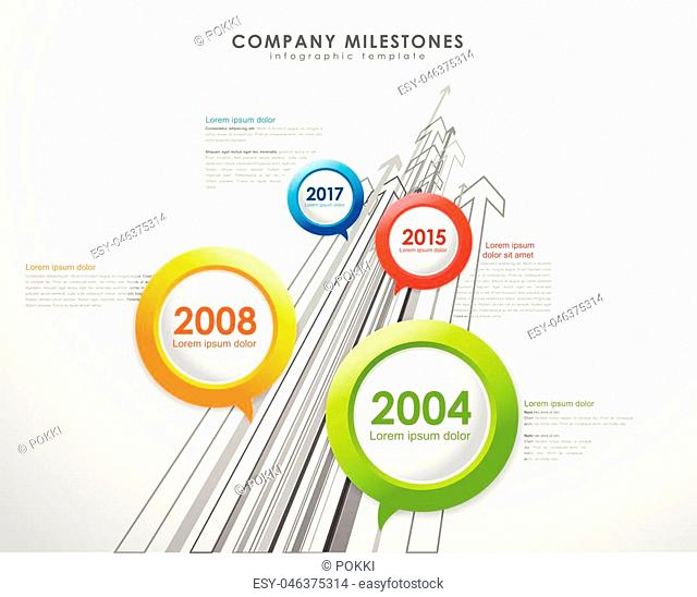 Infographic company milestones timeline vector template with arrows