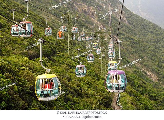 Cable cars connecting Low Land and High Land in Ocean's Park, Hong Kong, HKSAR