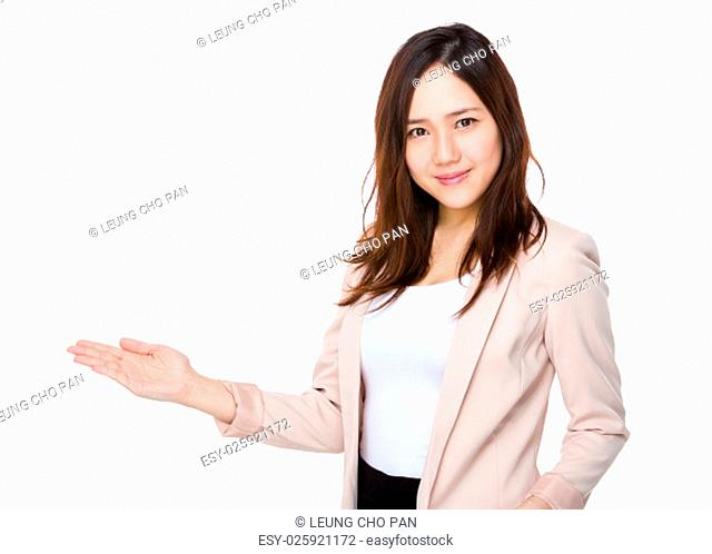 Asian Young Businesswoman with hand showing blank sign