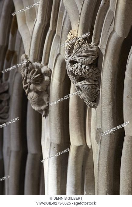 Detail of stonework. St Albans Cathedral, St Albans, United Kingdom. Architect: Richard Griffiths Architects, 1077
