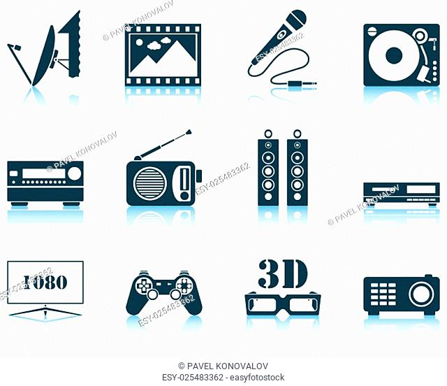 Set of multimedia icon. EPS 10 vector illustration without transparency