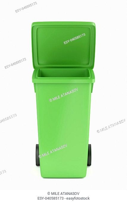 Green recycle bin on white background