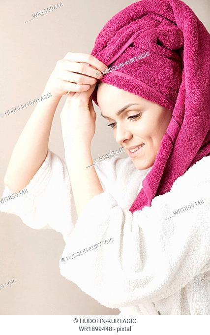 Young woman wearing turban