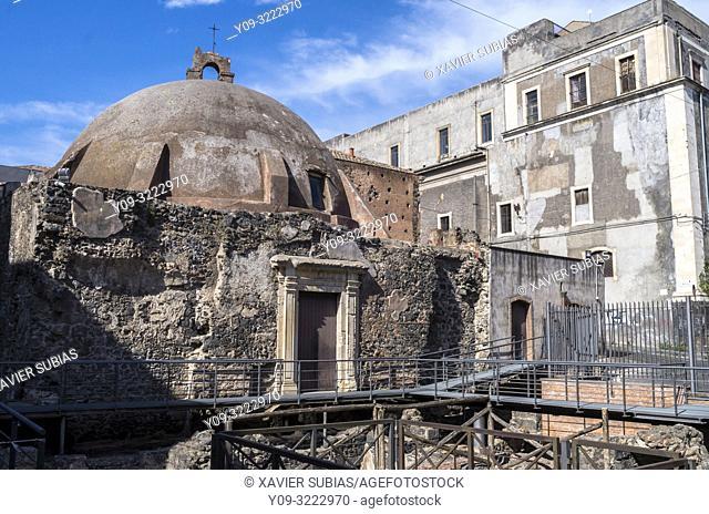 Former Byzantine basilica of Santa Maria della Rotonda, Catania, Sicily, Italy