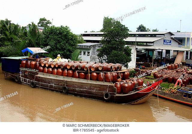 Cargo ship, transport boat, Mekong delta, South Vietnam, Vietnam, Asia