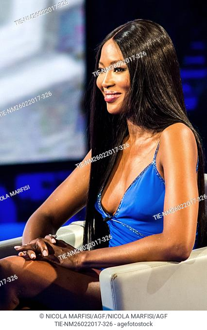 The top model Naomi Campbell during the tv show Che tempo che fa, Milan, ITALY-12/03/2017