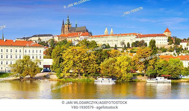 Prague, Hradcany - view from Charles Bridge to the Royal Castle, Prague, Czech Republic, Europe