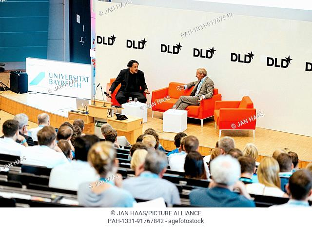 BAYREUTH/GERMANY - JUNE 21: Cherno Jobatey (Huffington, l.) talks with Herbert Henzler (Herbert Henzler Consulting, r.) on the stage during the DLD Campus event...