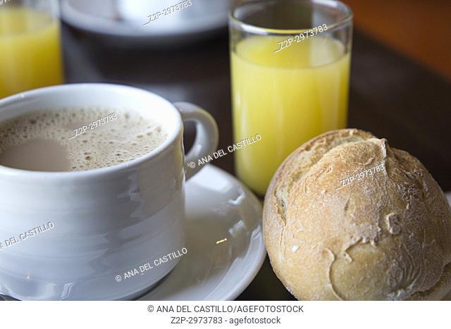 Breakfast table Orange juice bread and coffee