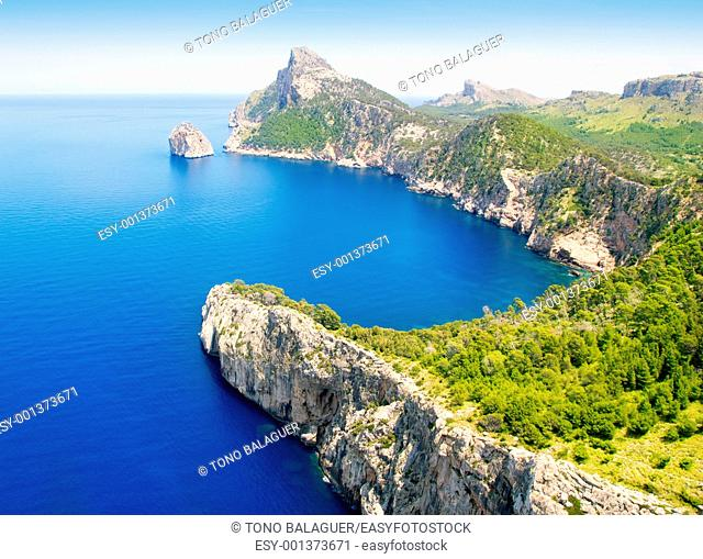 Formentor cape to Pollensa high aerial sea view in Mallorca balearic islands