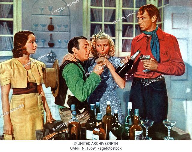 The Cowboy And The Lady, aka: Mein Mann der Cowboy, USA 1938, Regie: H.C. Potter, Stuart Heisler, Darsteller: (v. l.) Merle Oberon, Fuzzy Knight, Mabel Todd
