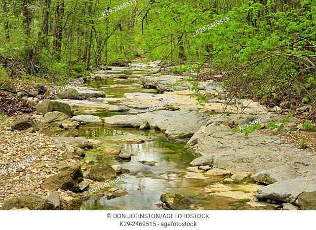 A small creek with low water. , Buffalo National River- Lost Valley trail, Arkansas, USA