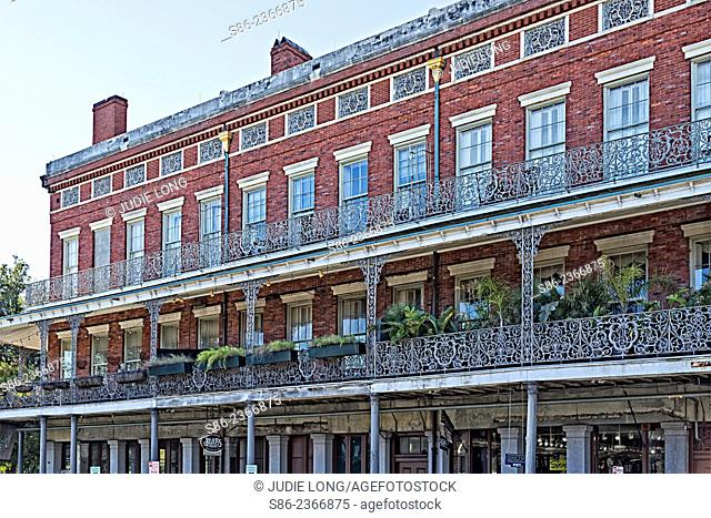Close Up of Upper Pontalba Apartment Buildings, the oldest apartment buildings in New Orleans, LA, Built in 1849-51
