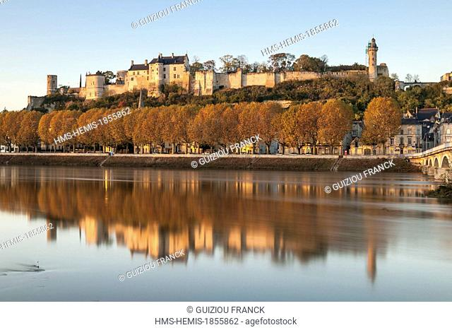 France, Indre et Loire, Loire Valley listed as World Heritage by UNESCO, Chinon on the edge of the Vienne river and its medieval castle