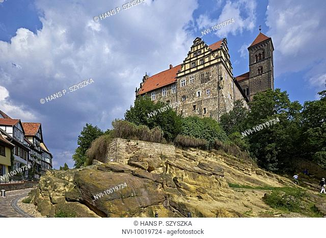 The Schlossberg with Castle and St. Servatius collegiate church in Quedlinburg, Saxony-Anhalt, Germany