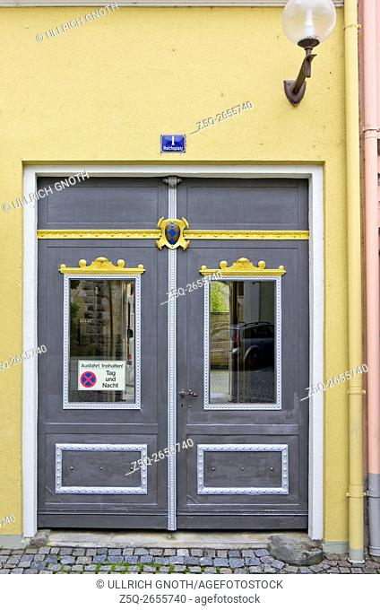 Beautifully designed historic front door of an urban residential building, Reichsplatz Nr. 1, Lindau Lake Constance, Bavaria, Germany
