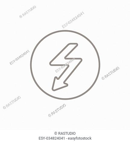 Lightning arrow going down inside circle line icon for web, mobile and infographics. Vector dark grey icon isolated on light grey background