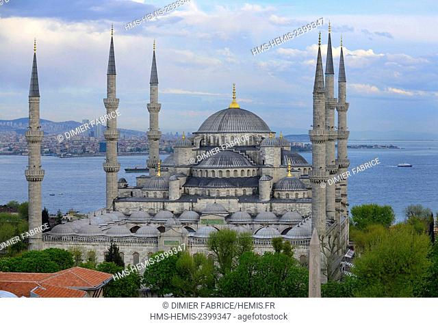Turkey, Istanbul, the blue mosque dominates the golden horn and the Sea of Marmara
