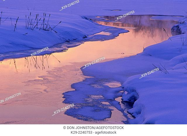 Robinson Creek in mid winter at sunset, Greater Sudbury, Ontario, Canada