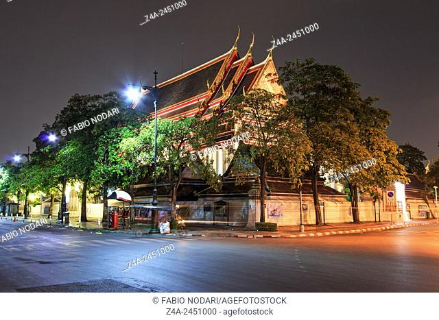 Bangkok, Thailand - Wat Pho known also as the Temple of the Reclining Buddha at night