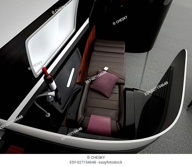 Luxurious business class interior. 3D rendering image in original design