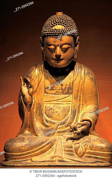South Korea, Seoul, National Museum of Korea, Buddha, statue, Joseon Dynasty, 17-18th century