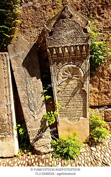 Islamic Grave stones in the Archeological Museum, Rhodes, Greece. UNESCO World Heritage Site