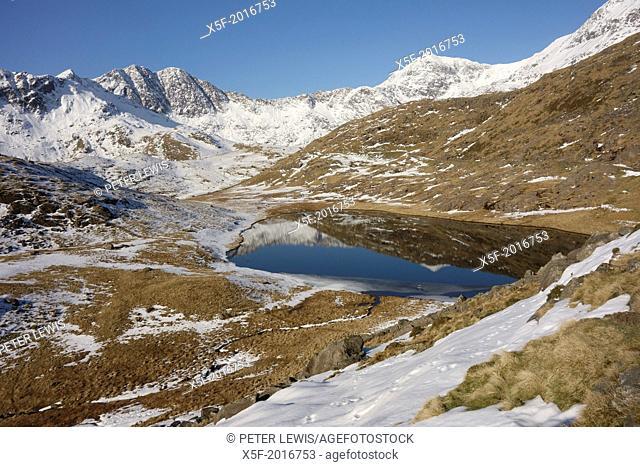Snowdonia Mountain range reflected in Llyn Teryn